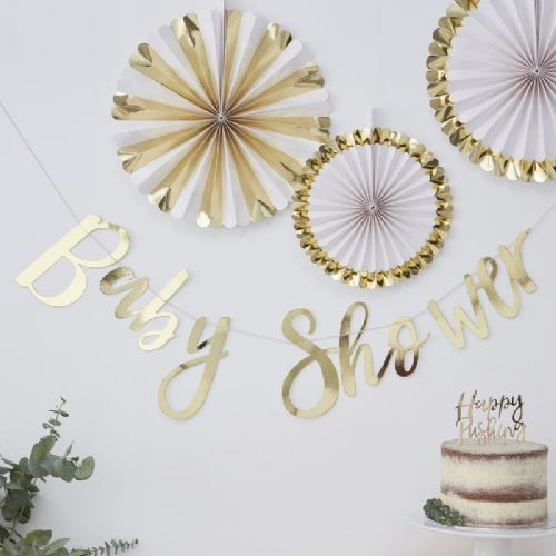Oh Baby Gold Foiled 'Baby Shower' Letter Banner (each)